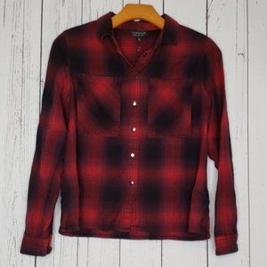 Topshop Red Black Plaid Snap Button Down Top Sz 2